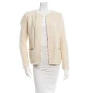 ISABEL MARANT Creme Wool Frayed-trimmed Jacket